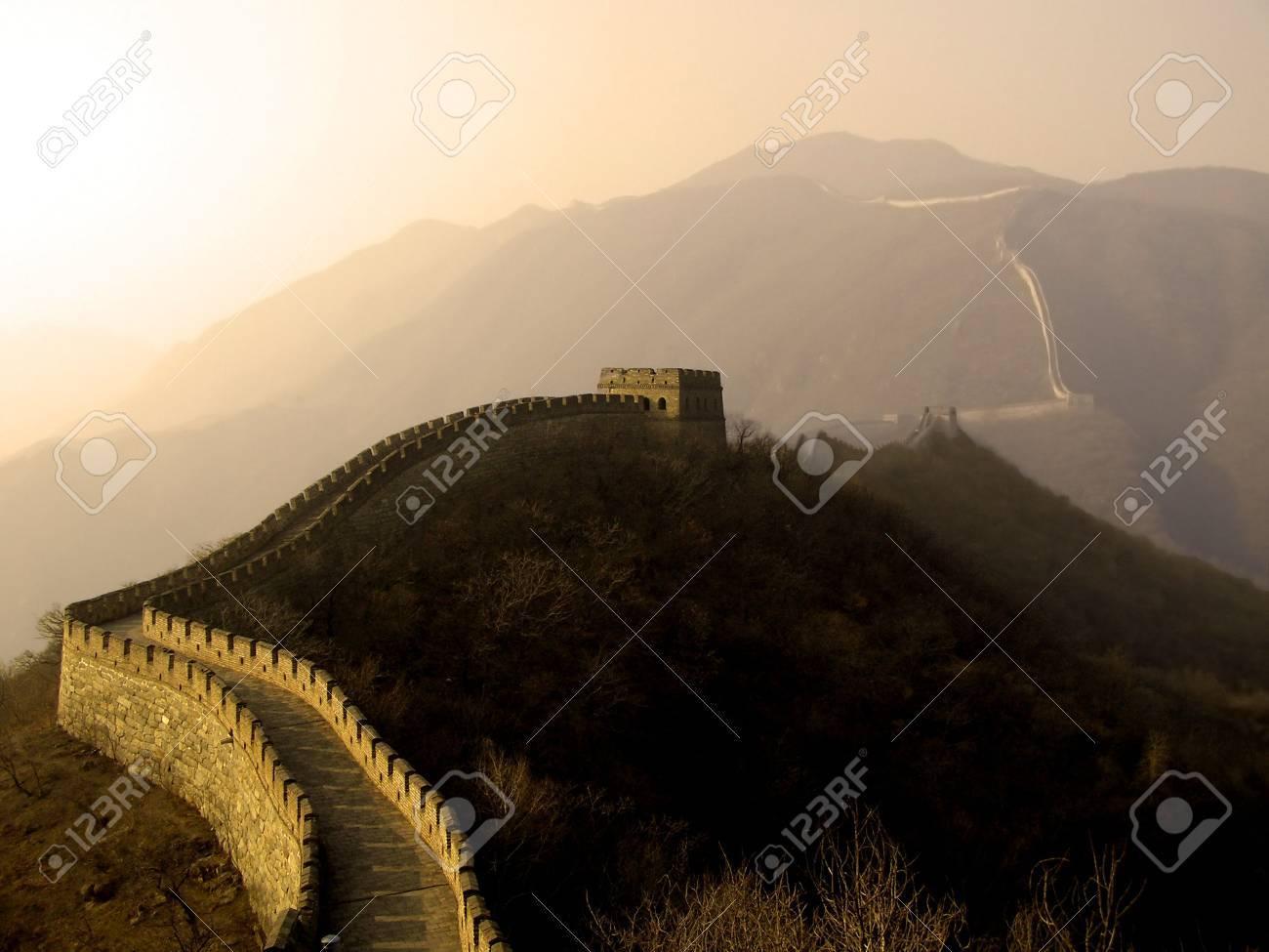 The Great Wall of China (Mu Tian Yu) under a setting sun. February 2007 Stock Photo - 799049