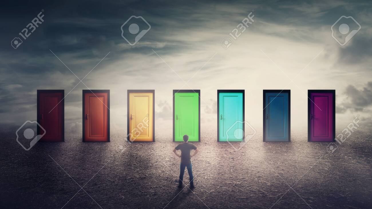 Confident guy in front of many doors different colored has to choose one. Difficult decision, important choice concept, failure or success. Ways to unknown future, career development opportunity. - 124138630