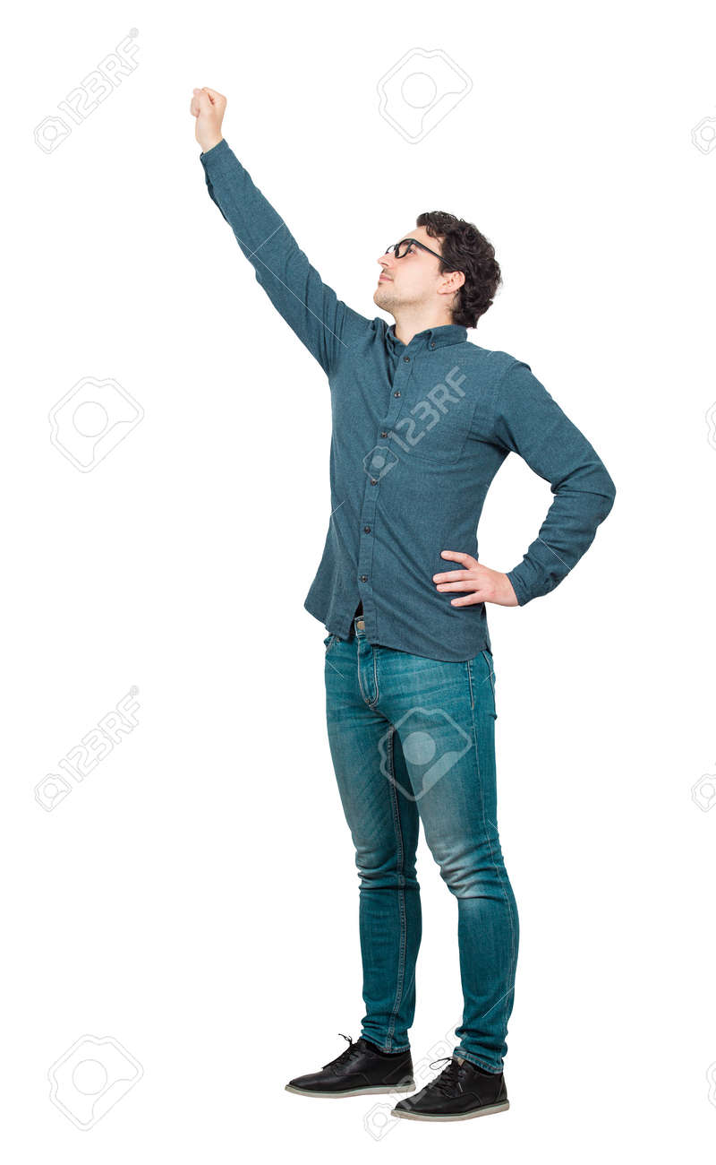 Cheerful businessman, full length portrait, raising one arm as a leader, looking up confident. Brave guy, winning gesture isolated on white background. Ambition and business success concept. - 155076803
