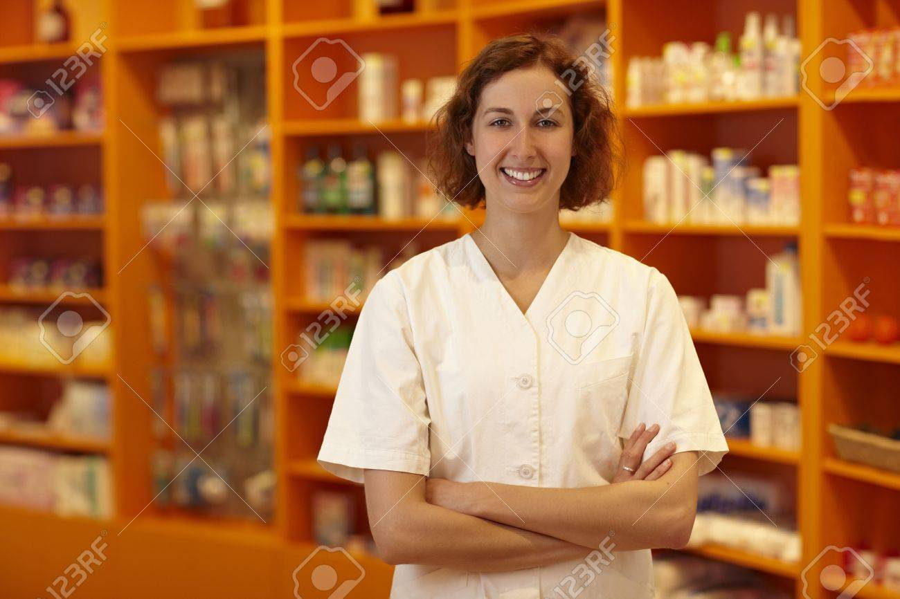 Portrait of a smiling pharmacist in pharmacy Stock Photo - 6066907