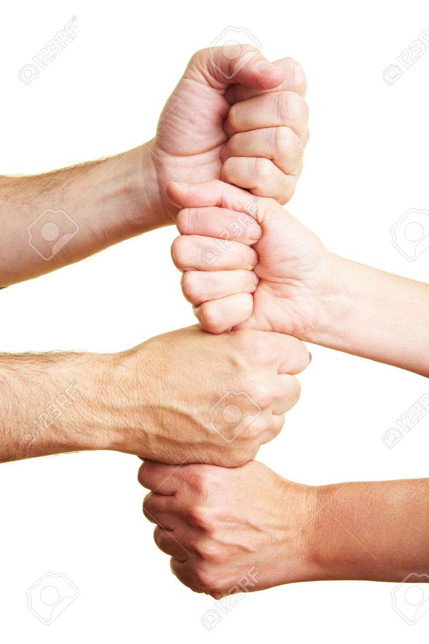People stacking their fists as a tower Stock Photo - 6375715