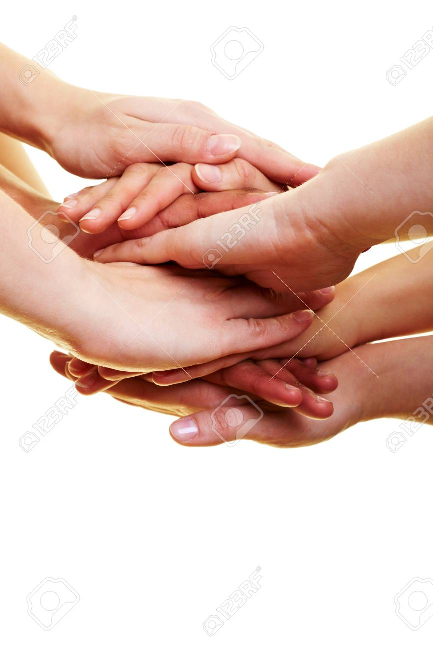Many hands lying on top of each other Stock Photo - 7222619