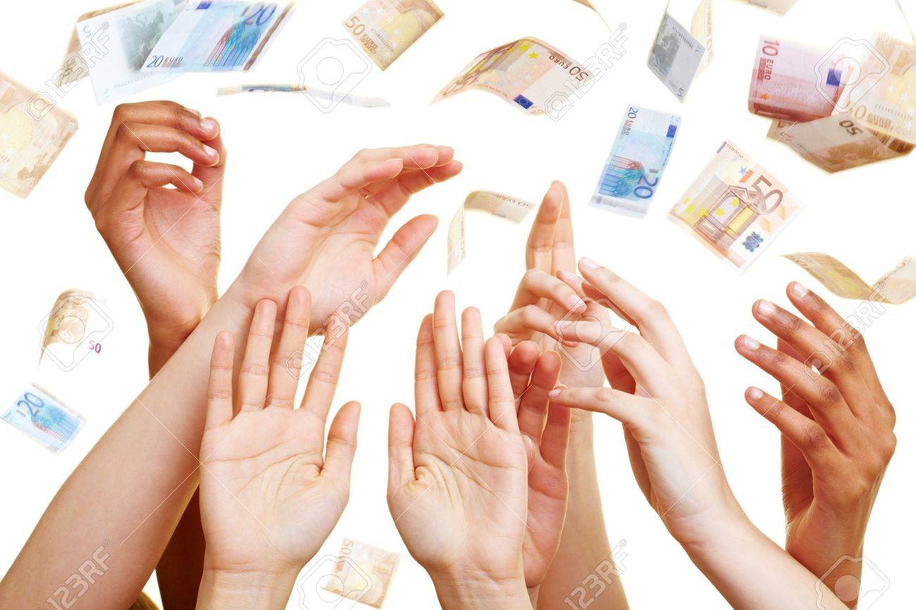 Many desperate hands reaching for Euro banknotes Stock Photo - 7222656