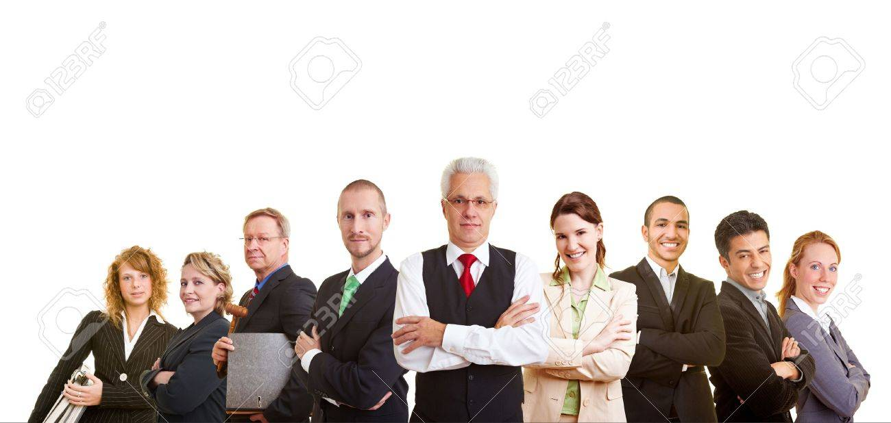 Nine successful business people looking into the camera Stock Photo - 7845530
