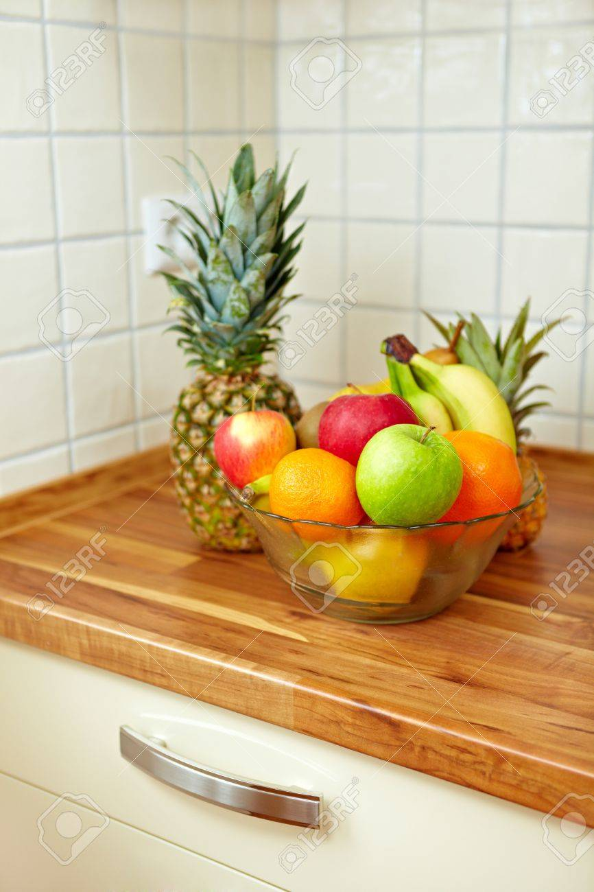 Colorful Fruit Bowl On A Kitchen Counter Stock Photo   8988469
