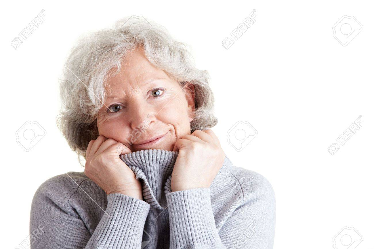 Happy elderly woman with warm turtleneck sweater in winter Stock Photo - 9114933