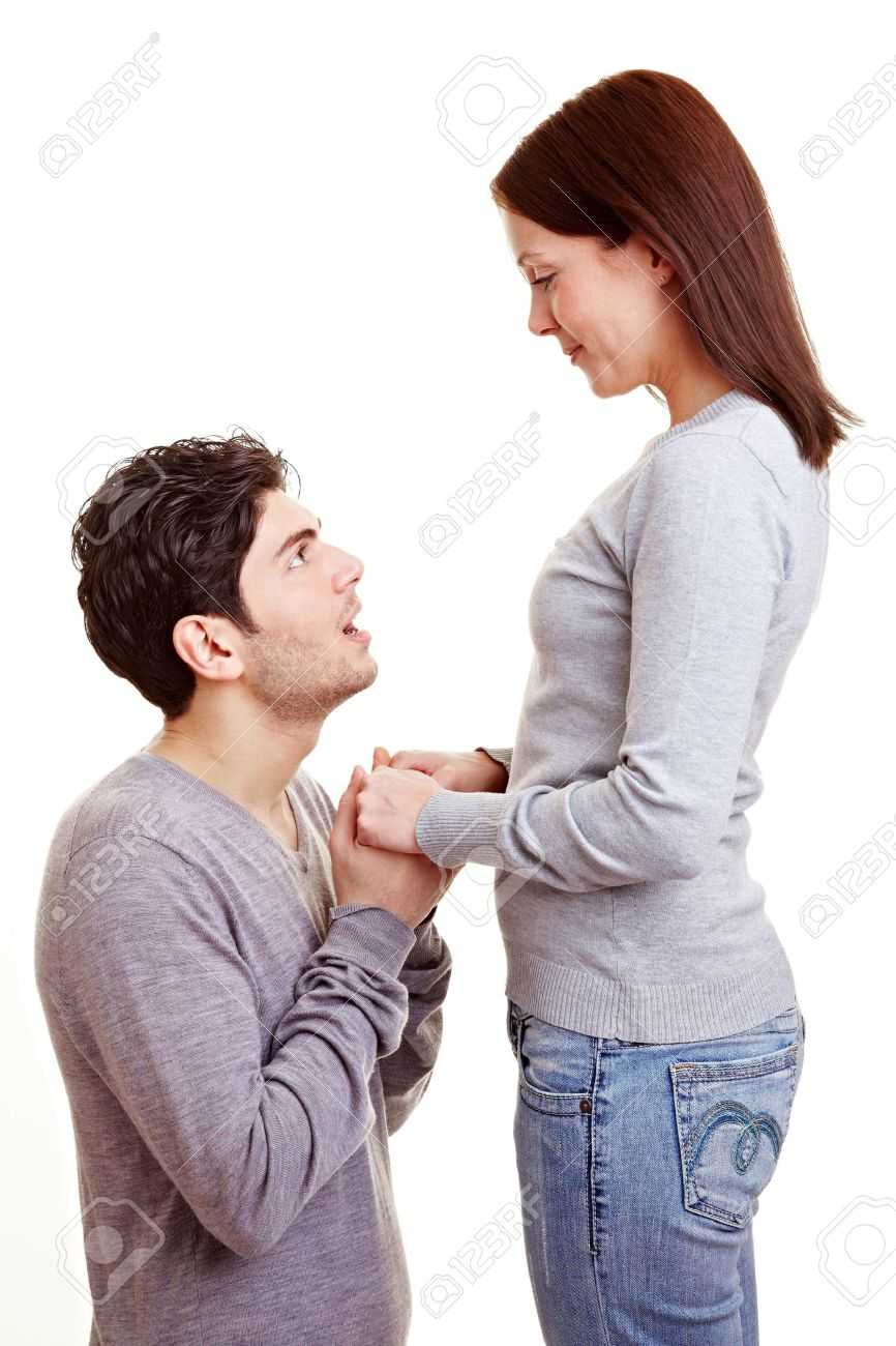 Man Apologizing On His Knees To His Girlfriend After A Conflict Stock Photo  9323028