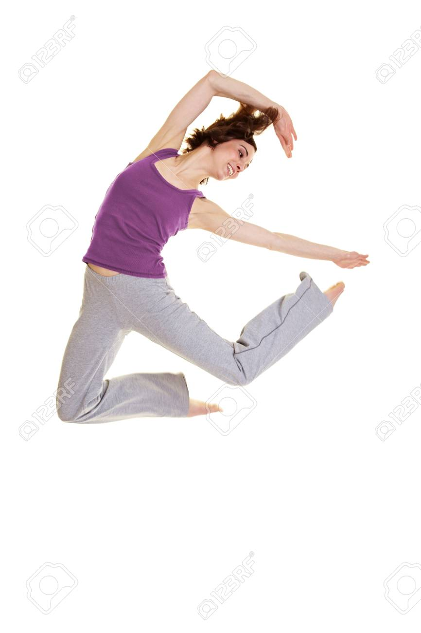 Young flexible woman jumping while dancing Hip Hop Stock Photo - 9436793