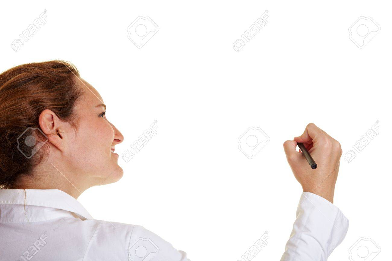 Young business woman using a pen on glass Stock Photo - 10174934