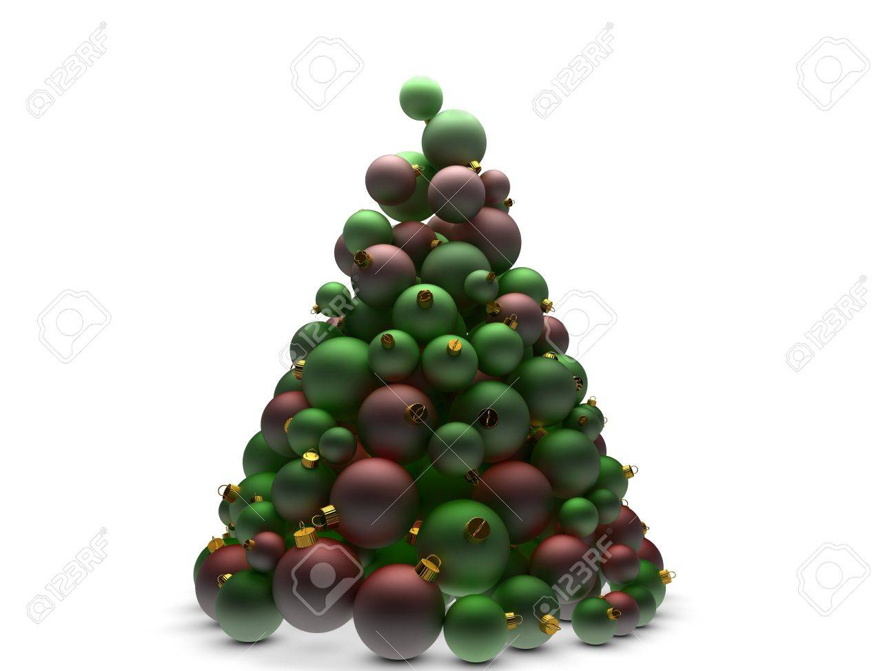 Christmas Tree Made Of Many Red And Green Ball Ornaments Stock Photo