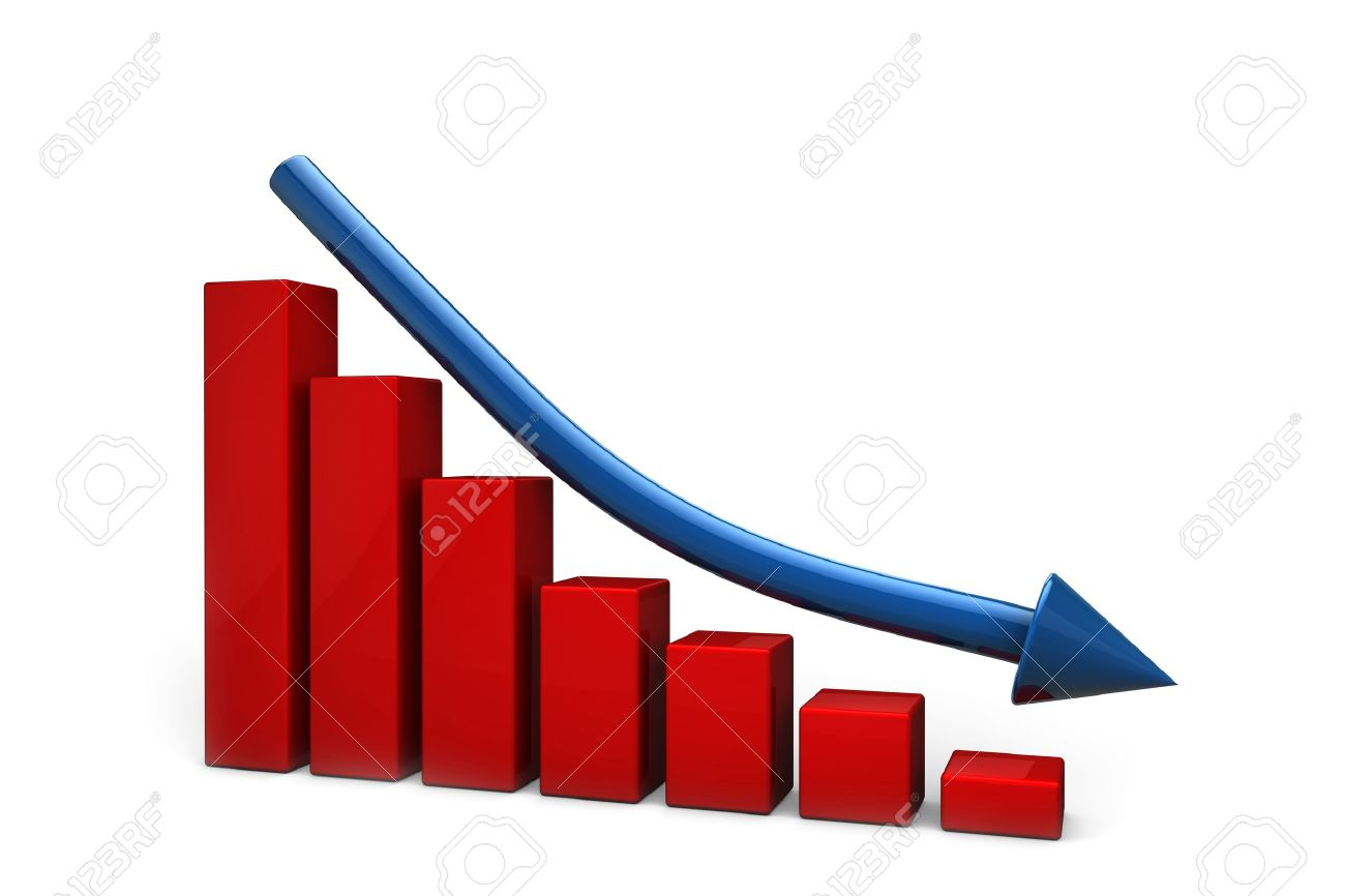 Declining red bar chart and falling blue arrow Stock Photo - 10281444