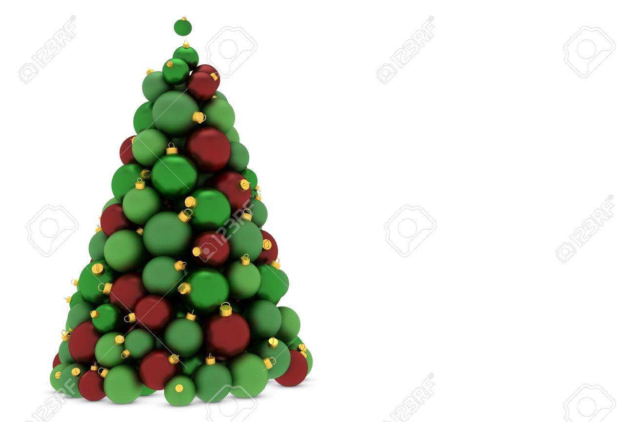 Christmas Tree Made Of Red And Green Balls Stock Photo