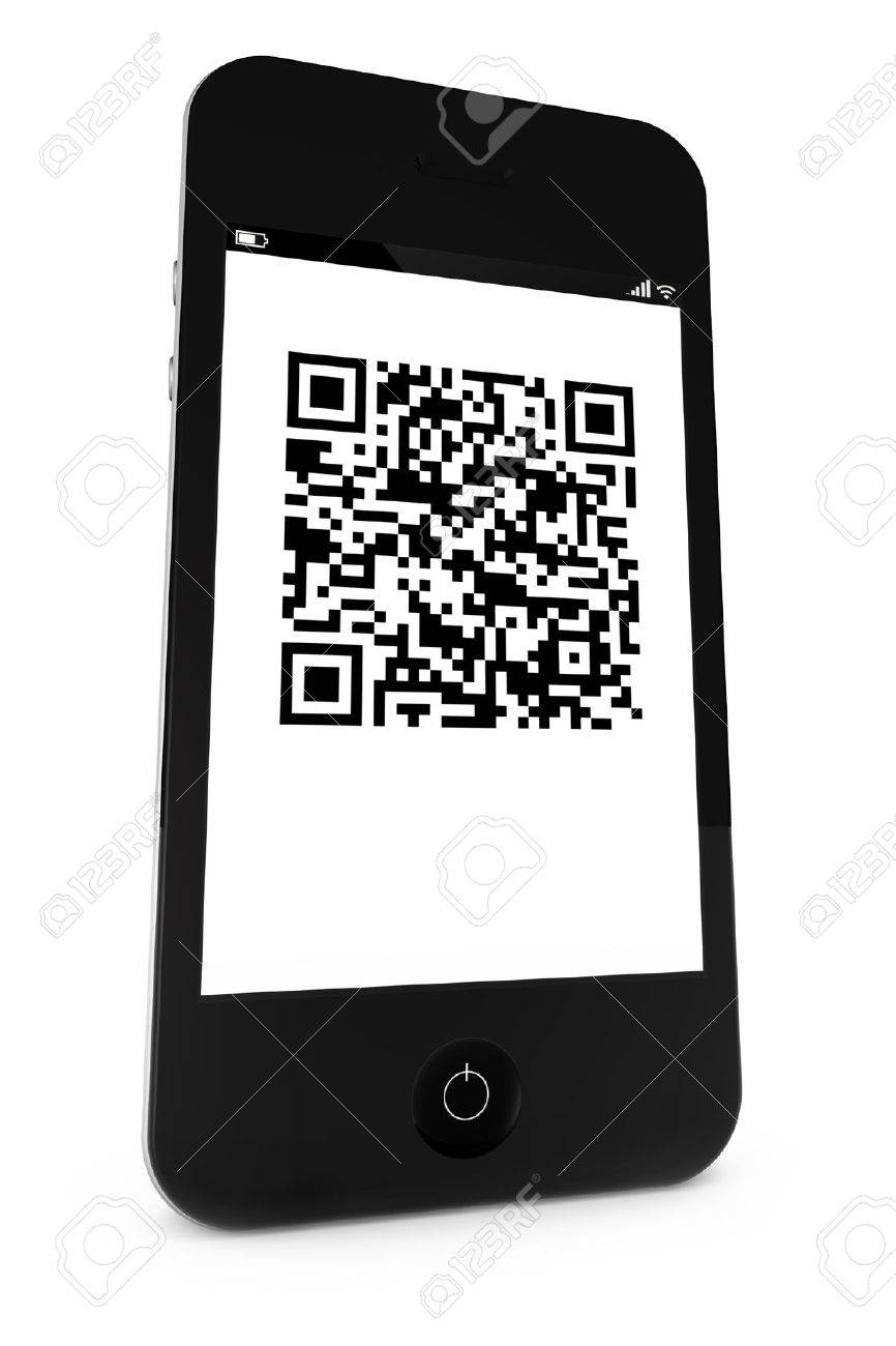Smartphone with a QR bar code on the display Stock Photo - 10281443