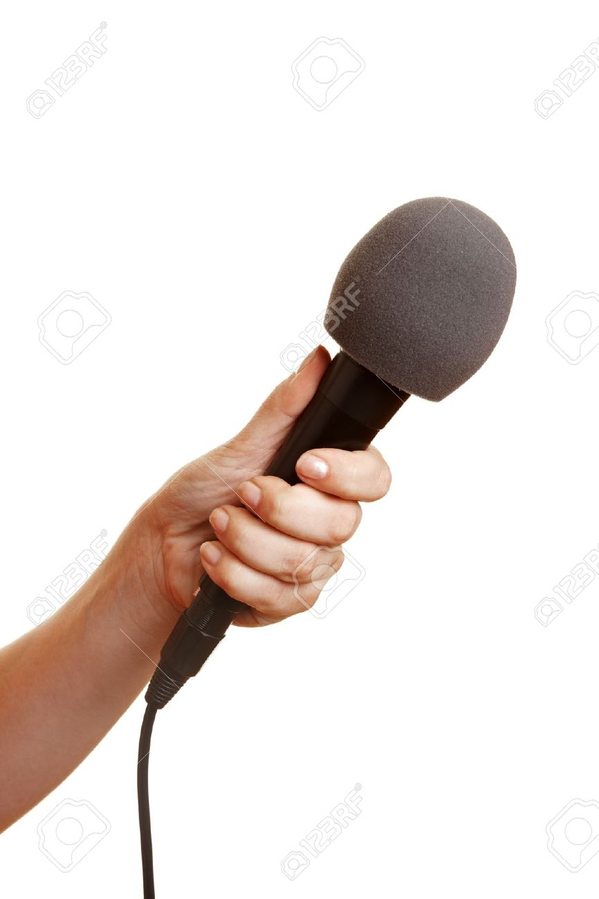 Hand holding a microphone with a windscreen Stock Photo - 10393124