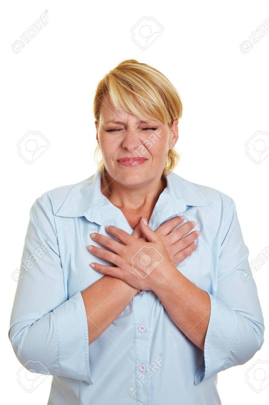 Business woman having heart attack holding her chest Stock Photo - 10585642