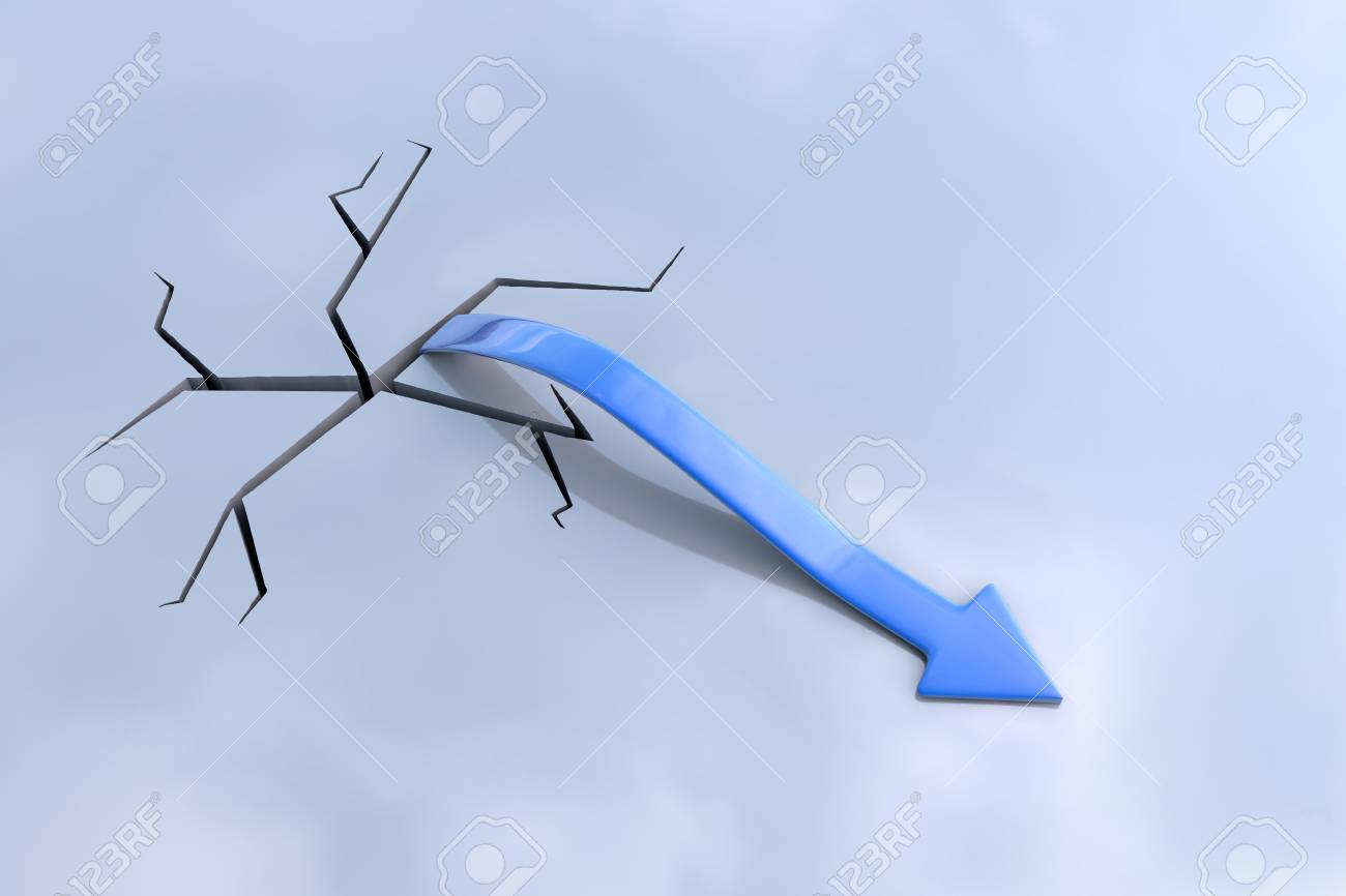 Blue 3D arrow rising from a crack Stock Photo - 11396189