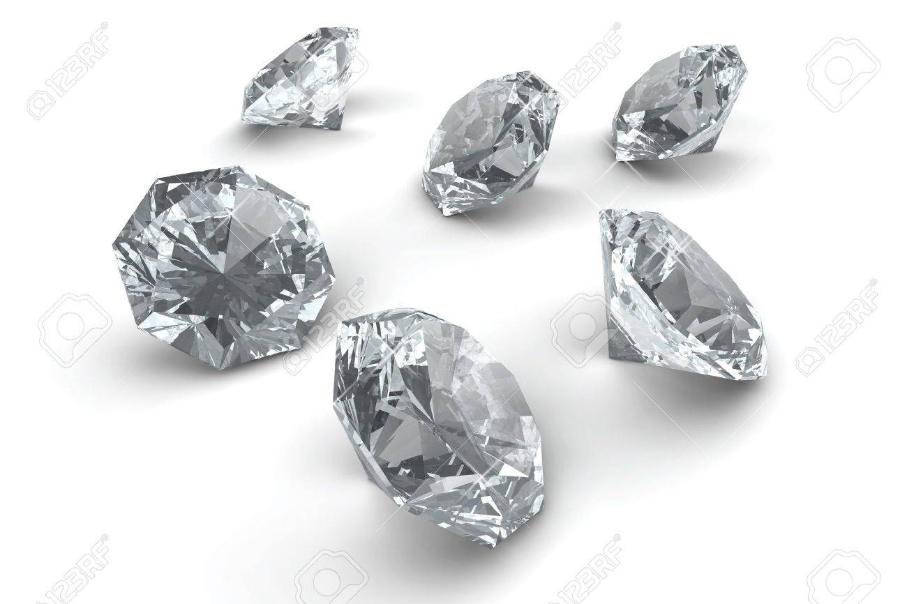 Many sparkling diamonds laying on white floor Stock Photo - 11638366