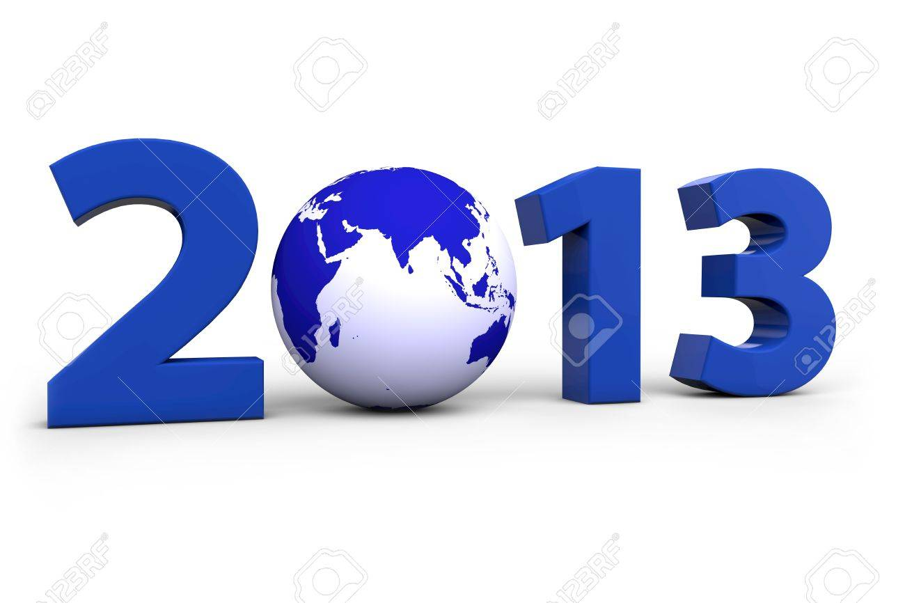 Year 2013 with a blue world globe instead of a Zero Stock Photo - 12108590