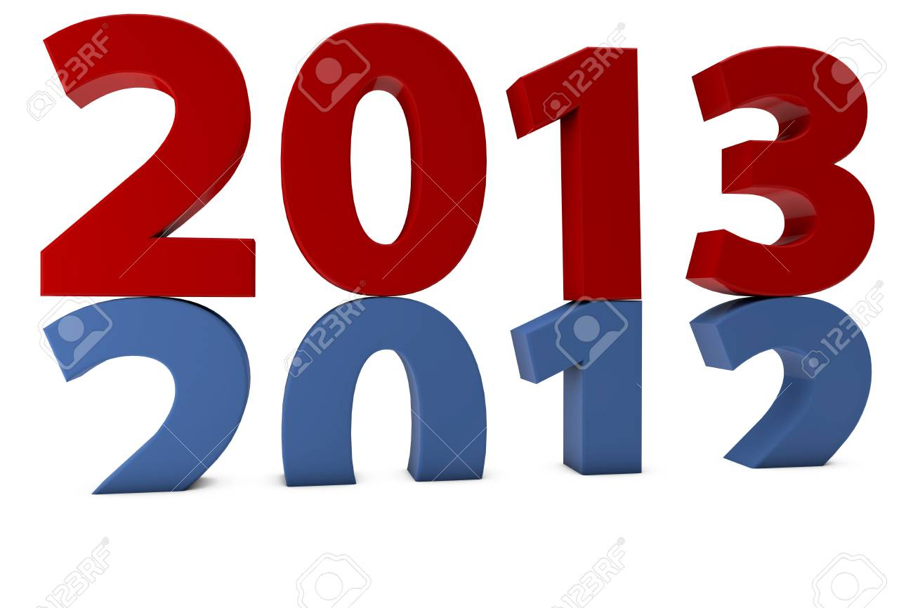 The year 2013 comes after 2012 on white background Stock Photo - 12108803