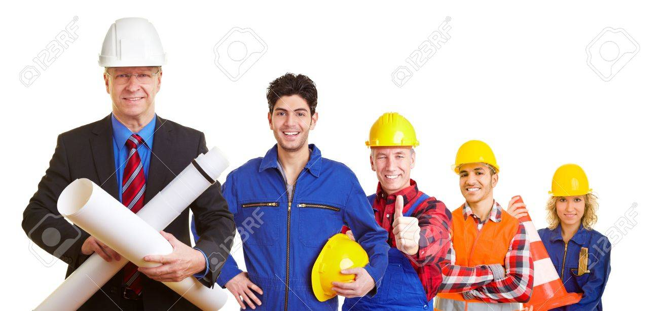 Team of an architect and construction workers working together Stock Photo - 12108660
