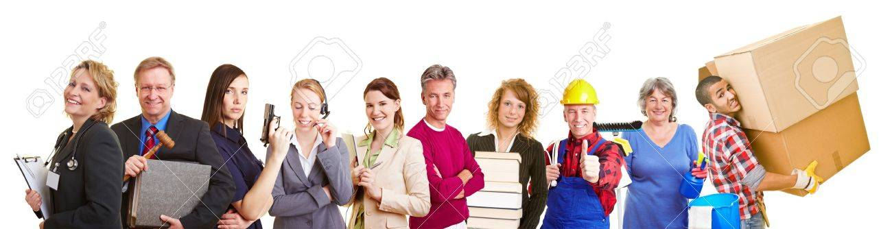 Many different occupations in a happy group team Stock Photo - 12361399