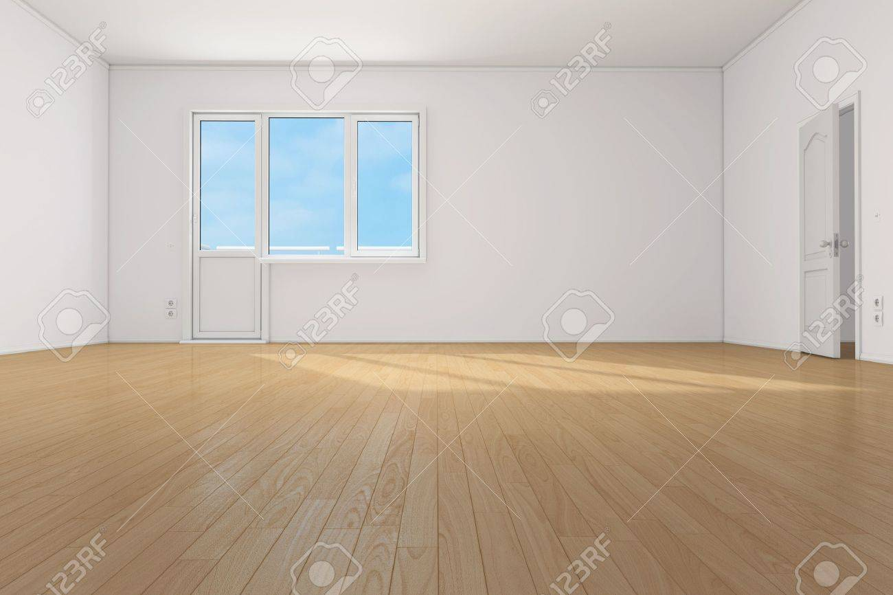 Empty Clean Room With Parquet Floor In Apartment Stock Photo