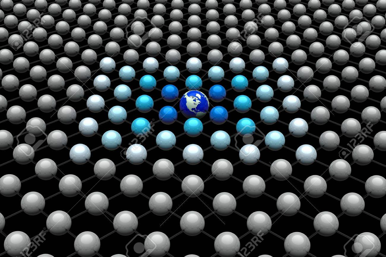 World globe in a 3D network with many balls Stock Photo - 12769742