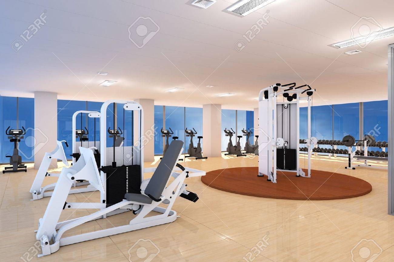 Empty fitness center with different training equipment Stock Photo - 13322450