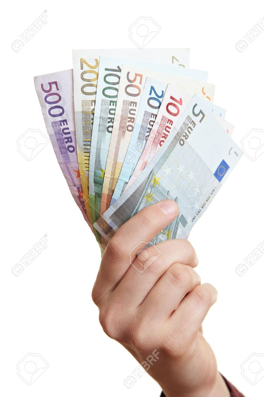 Hand holding Euro money fan with different bills Stock Photo - 14011769