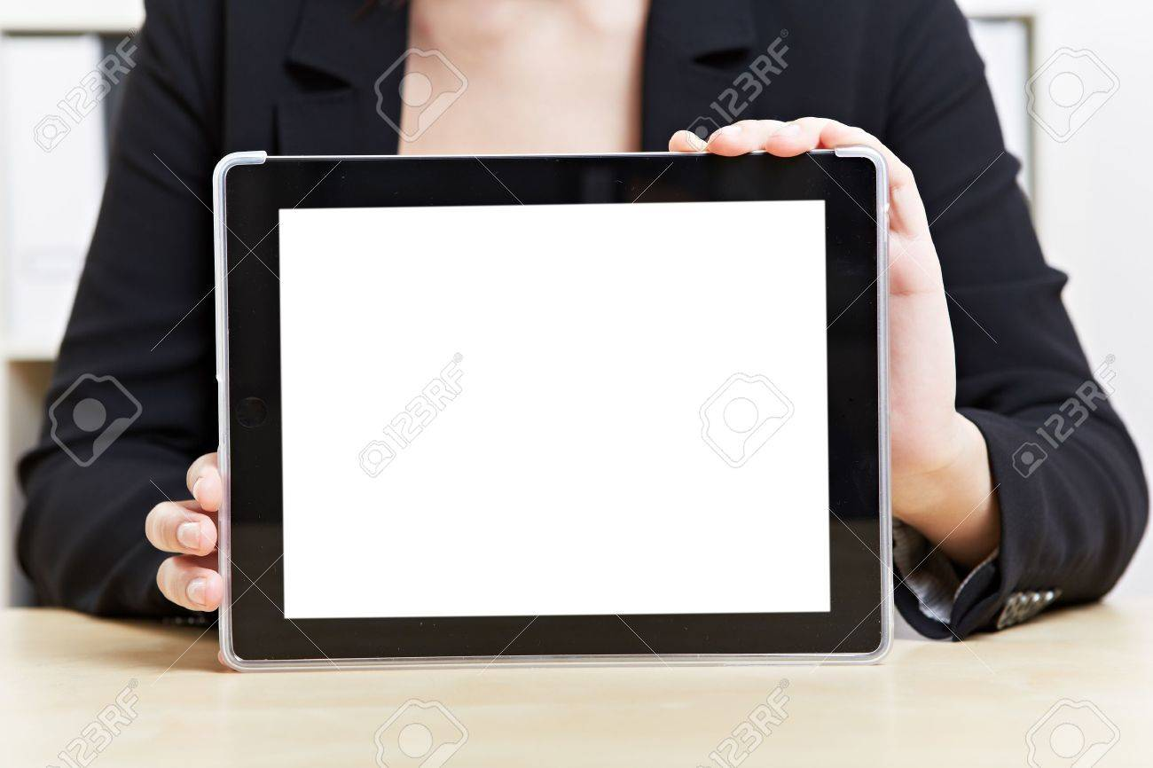 Empty white touchscreen of tablet computer in office Stock Photo - 14903258