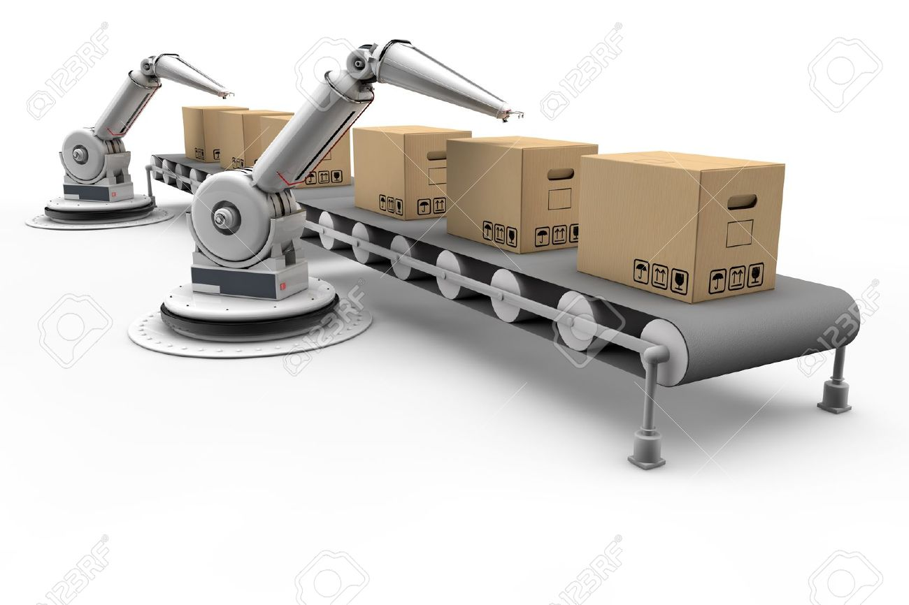 Articulated robots working on boxes on assembly line Stock Photo - 15967287
