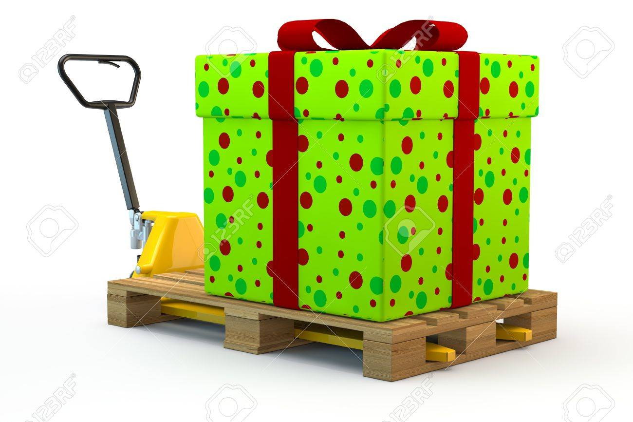 Huge colorful gift on pallet on a forklift truck Stock Photo - 15967289