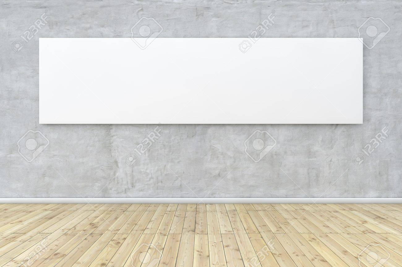 White empty panoramic image hanging on a concrete wall Stock Photo - 15967429