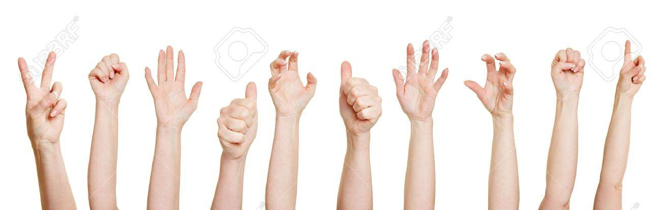 Many hands making different gestures like fists or thumbs up - 18919813