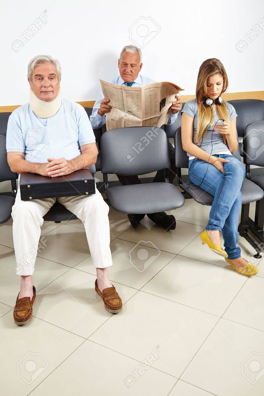 Three patients waiting in a waiting room of a hospital Stock Photo - 21380353