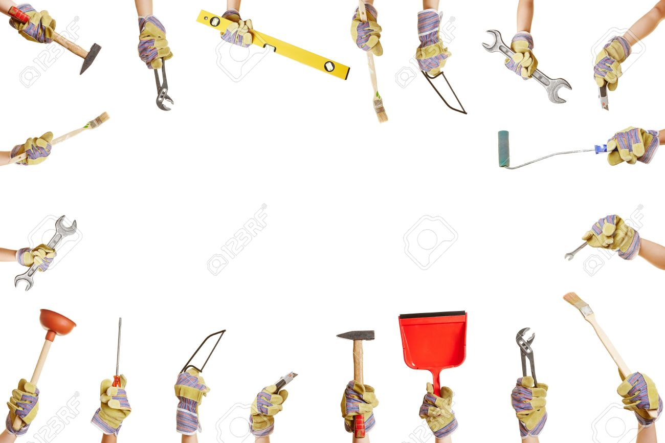 frame with many hands holding different work tools for construction and repairing stock photo 21695856