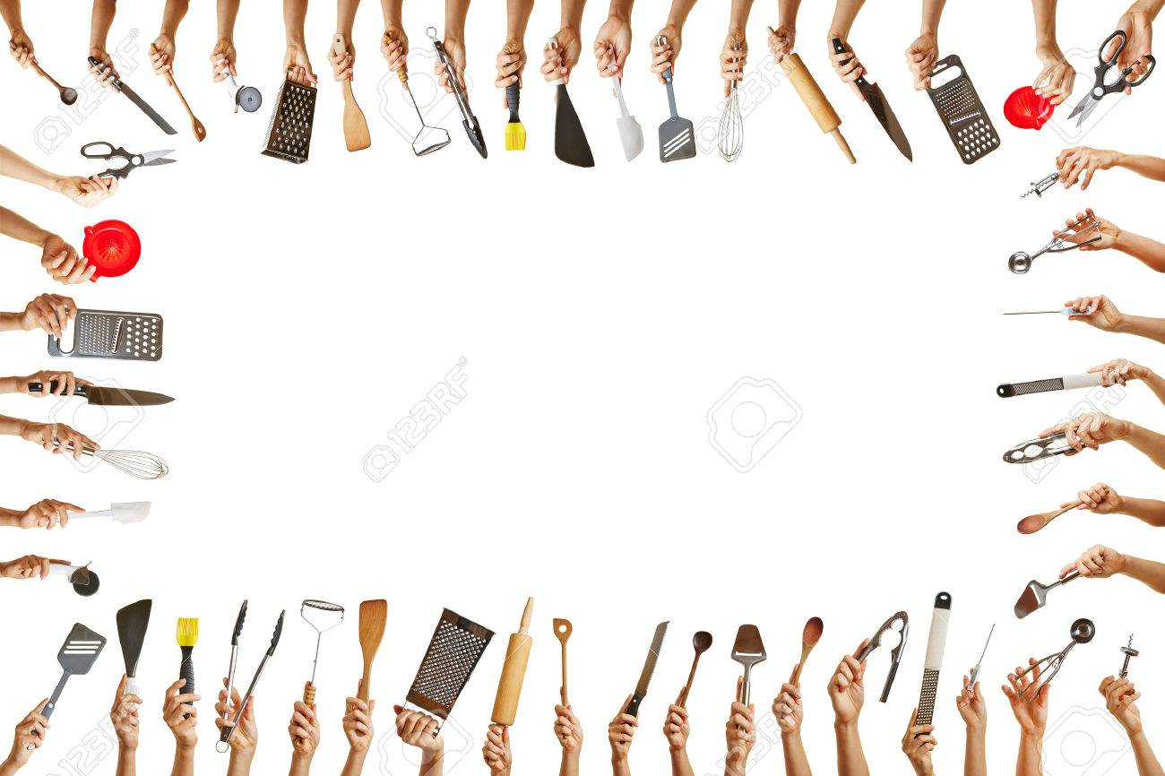 frame with many hands holding different kitchen tools for gastronomy stock photo 22276899