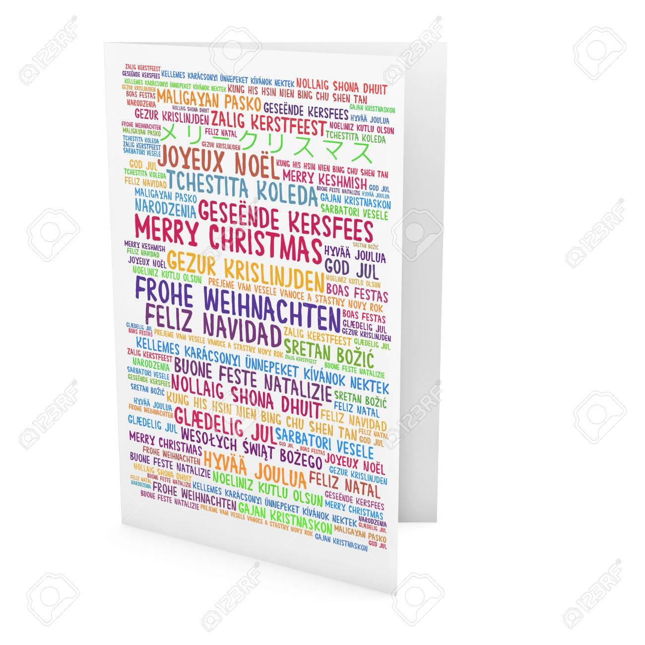 Frohe Weihnachten In Vielen Sprachen.Stock Photo