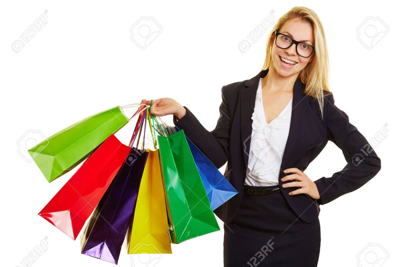 Happy Businesswoman With Glasses Carrying Many Shopping Bags ...