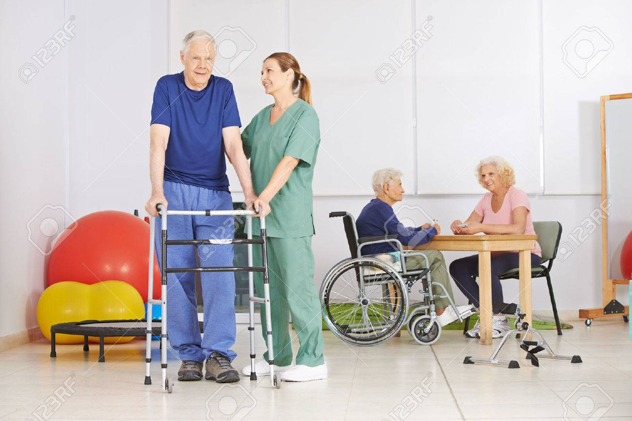 Old Man With Walker During Pyhsiotherapy In A Nursing Home Stock Photo Picture And Royalty Free Image Image 37735396