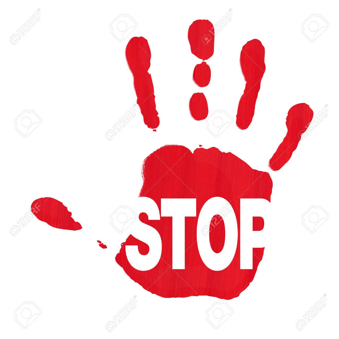 Red hand print showing STOP sign against racism and sexism Stock Photo - 39842413