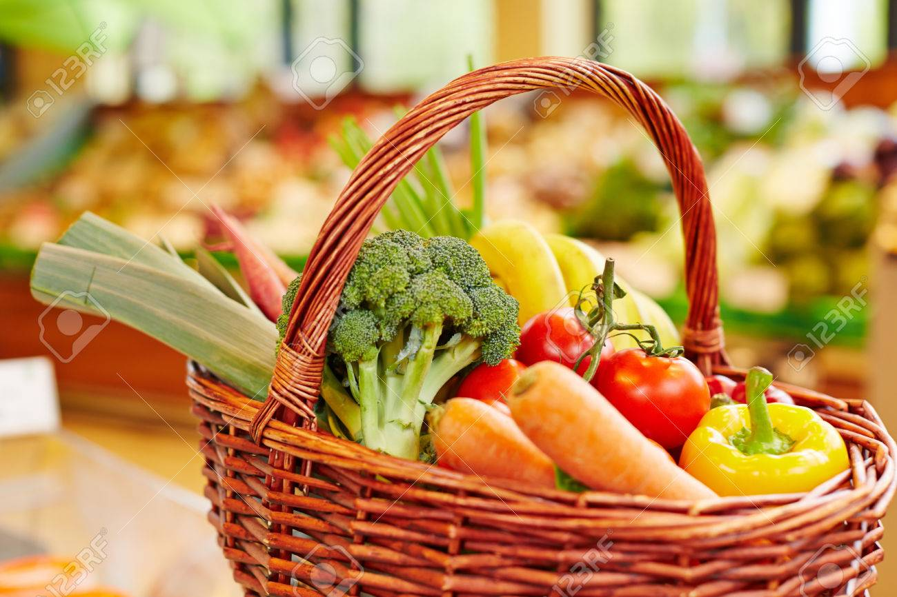 Colorful fresh vegetables in a shopping basket in a supermarket Stock Photo - 40085693
