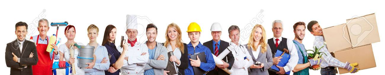 Big panorama group of people from many trades and professions and occupations Stock Photo - 40290865