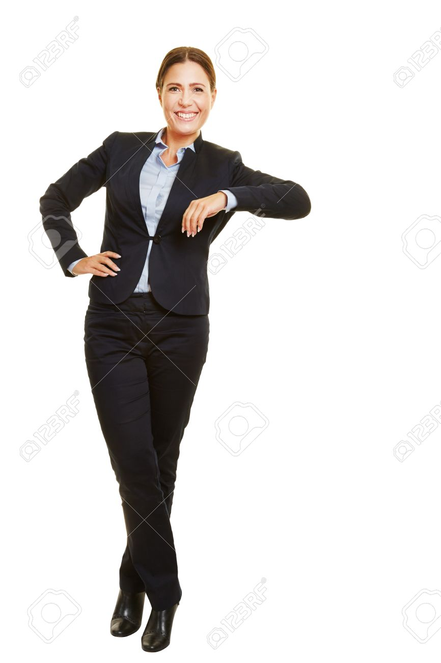 Smiling isolated full body business woman leaning casual on imaginary object Stock Photo - 40886225
