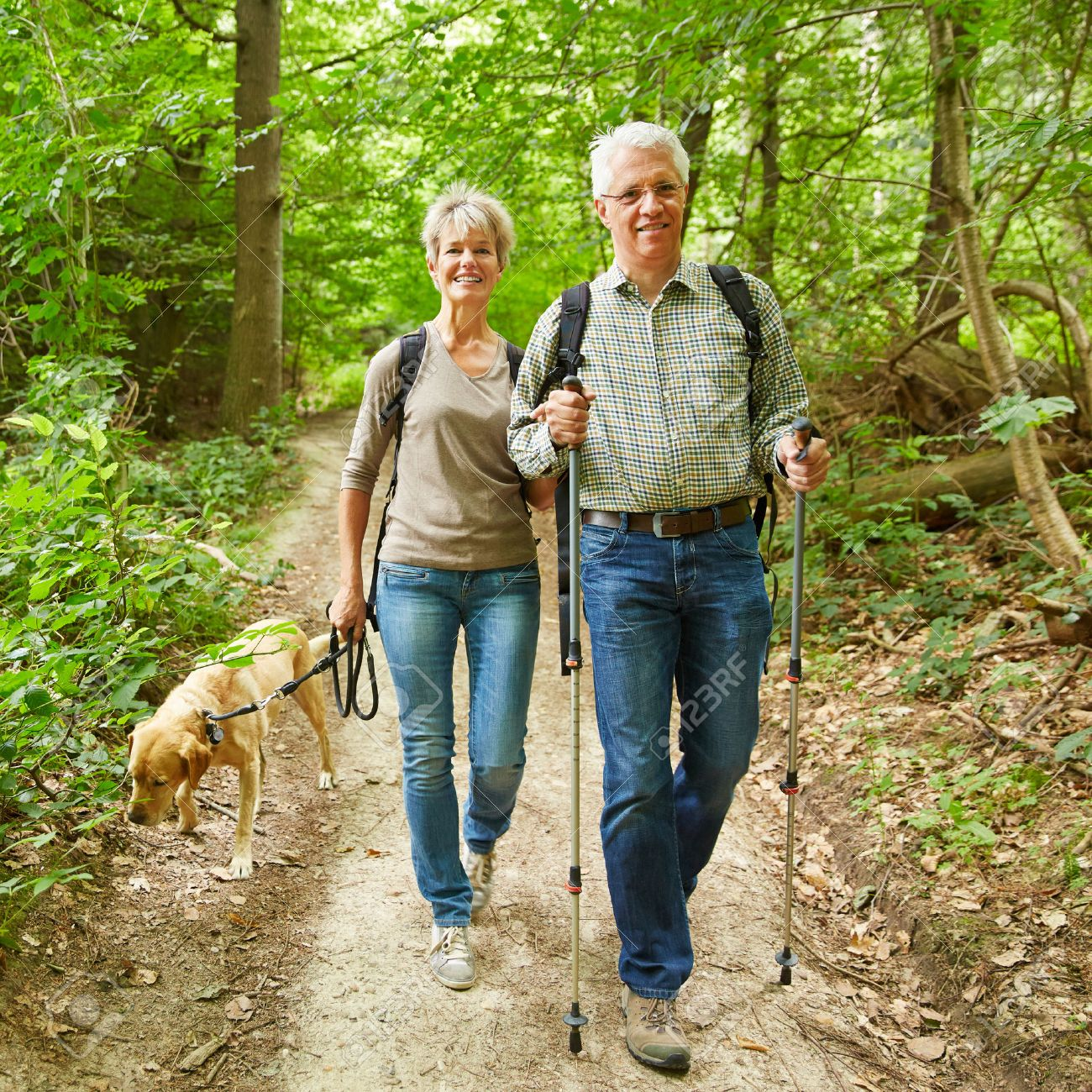 Two smiling seniors walking with their dog in a forest in summer Stock Photo - 44326234