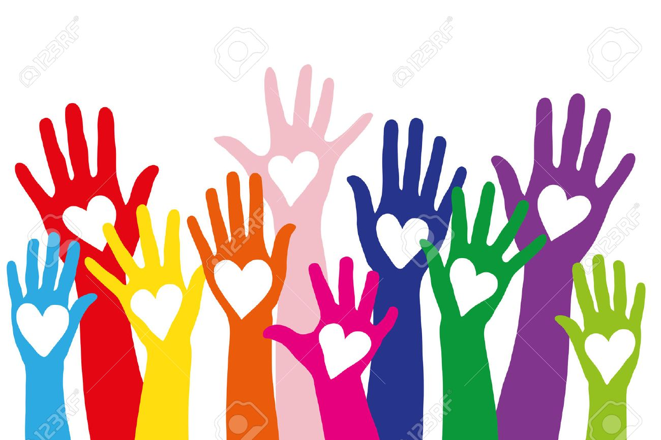 A lot of different colorful hands with a love symbol shaped as a heart Banque d'images - 53219062