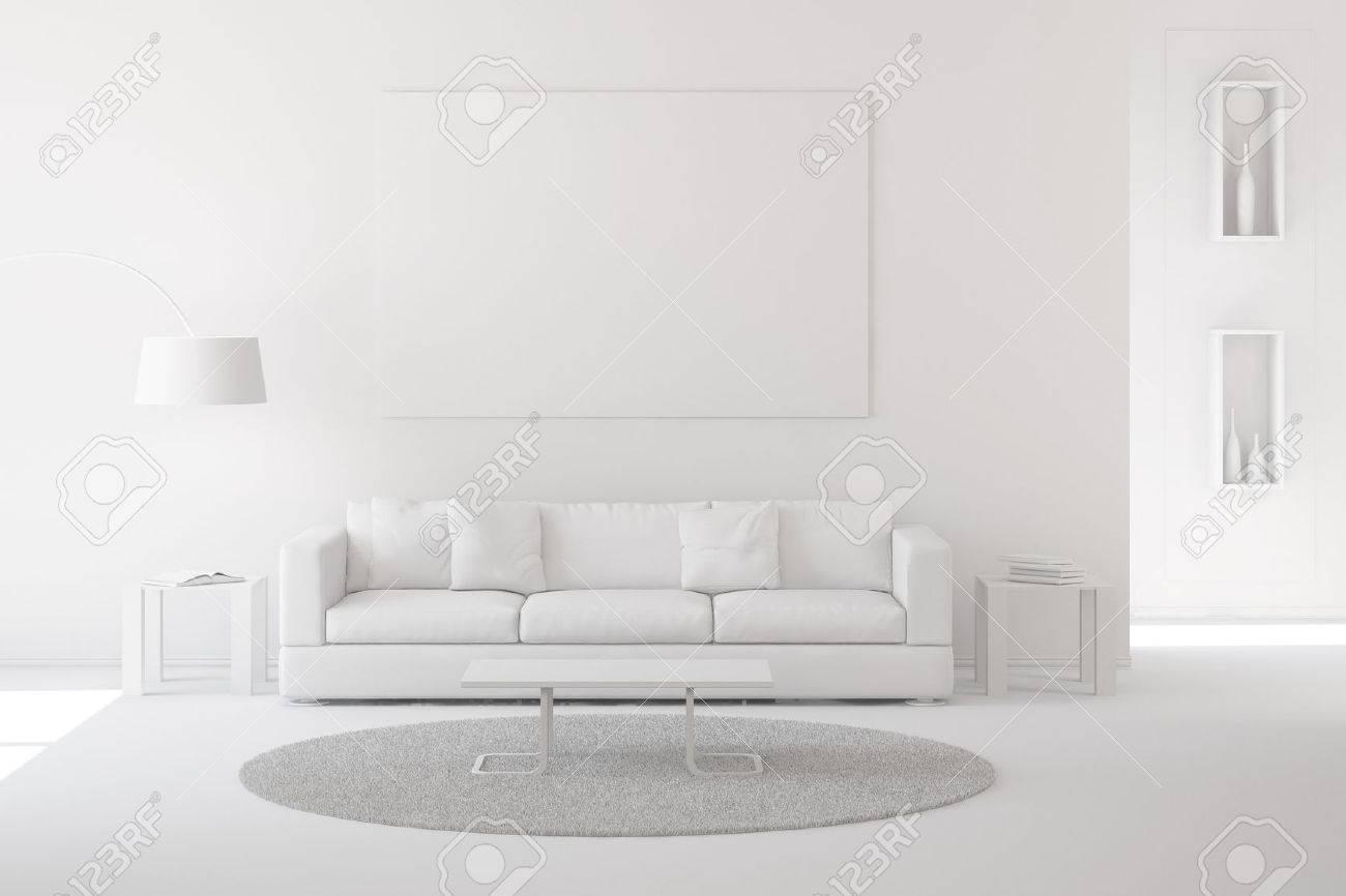 Peinture Blanche Salon à intérieur de salon moderne avec de la moquette et un canapé peinture