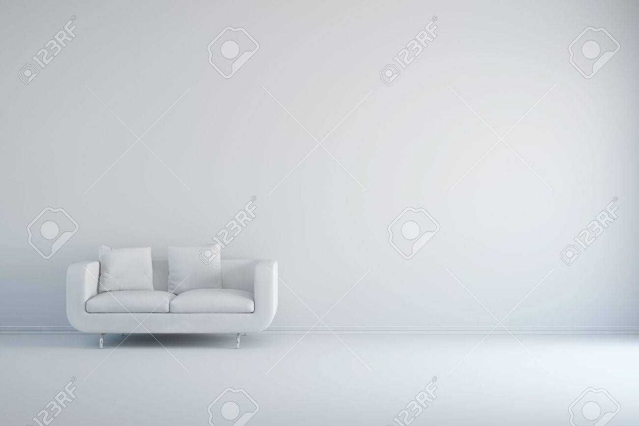Outstanding White Room With Sofa And Empty Background Wall Gamerscity Chair Design For Home Gamerscityorg