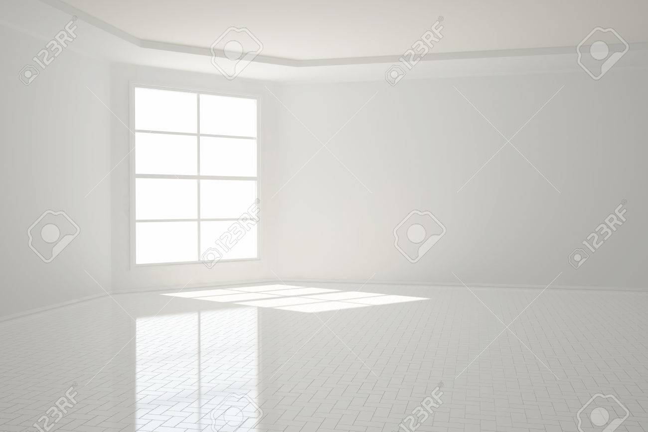 Bright empty white apartment room with tiles