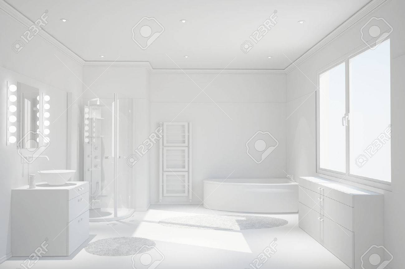 Modern Clean White Bathroom With Shower And Bathtub Stock Photo ...